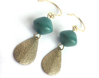 Vintage green beads with textured gold dangles