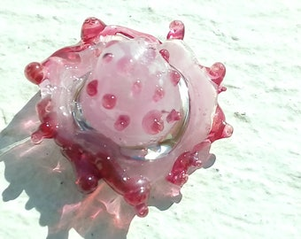 """Hat """"Mexican pink Harlequin"""" glass Lampwork"""