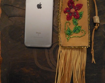 "Native American Inspired ""Plains Indian"" Beaded bag. (Cell Phone Holder)"