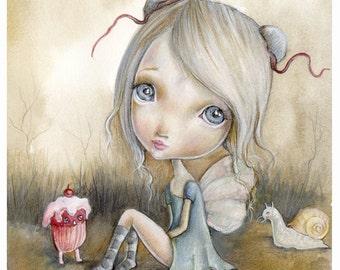 "LIMITED EDITION print signed numbered Chrishanthi' ""Zero"" lowbrow pop surreal big eyes sugar cupcake  gothic art snail"