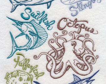 Sea Life Medley Embroidered Flour Sack Hand/Dish Towel
