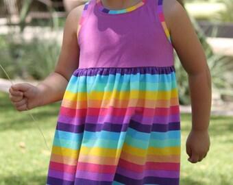 Snapdragon Dress PDF pattern for Knits, Girls Knit Dress Pattern, Tank Knit Dress, Sleeveless Dress, Tshirt Dress, Knit Dress Sewing Pattern