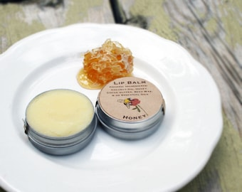Organic Honey Lip Balm / made in maine / safe for kids / silky smooth and sweet smelling maine organic lip balm tin /non-tinted lip balm
