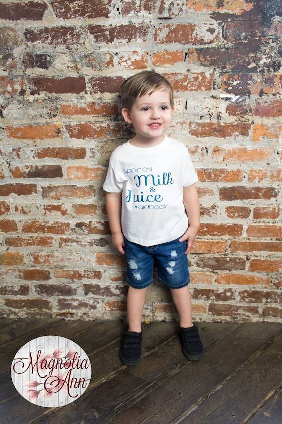Sippin On Milk & Juice #laidback, Toddler T-Shirt in 11 Different Colors in Sizes 2T-5/6