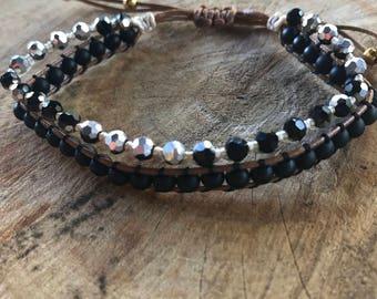 Handmade Adjustastable Faux Leather Cord Black Silver Glass Beads Bracelet