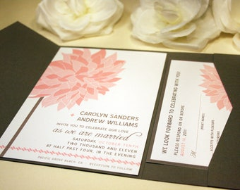 Dahlia Wedding Invitation, Pink Flower, Floral