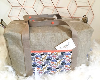 Bag weekend in natural linen and Liberty of London tail for the zoo