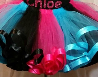 Hot pink, black and turquoise ribbon trimmed tutu ONLY