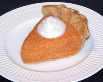 Needle Felted Food - Piece of Pumpkin Pie with Whipped Cream - Felt Desserts - Play Food -  Needlefelt - Slice of Pie - Kitchen Decor