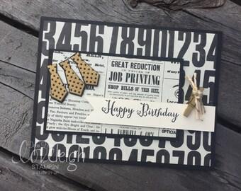 Ties & Gold Handmade Birthday Card