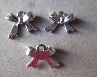 x 3 pendants/charm bow Ribbon shape silver 11 x 15 mm