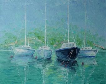 Sailing Art,Regatta,Boat,Seascape Art,Seascape Blue Sea Painting,Seascape Canvas Waves, Seascape Impressionist,Seascape in Oil,Home Interior