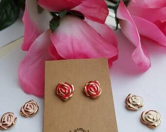 Gold Rose Stud Earrings, rose earrings, studs, flower stud earrings, Beauty and the Beast Rose inspired earrings