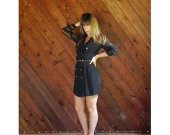 Sheer Mesh Sleeve Tuxedo Mini Dress - Vtg - SMALL