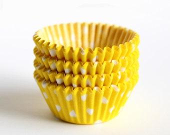 SALE: MINI Cupcake Liners - Yellow Polka Dot (60)