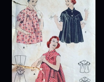Vintage 50s Maternity Smock Top Lucy Peter Pan Collar Sewing Pattern 7395 B32