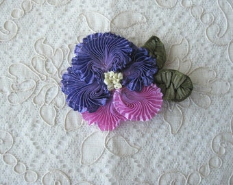 New Artisan Ribbonwork Floral Applique - Pansy