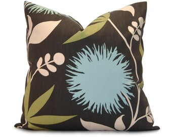 ON SALE - Floral Decorative Pillow Cover - Thomas Paul Dahlia - Aqua, Olive, Ivory on a Slate Gray Background - Accent Pillow - Throw Pillow