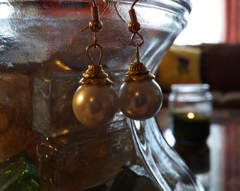 pearl, gold, drop earrings
