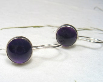 Gorgeous quality Amethyst  cabochon ,8mm round stone on sterling silver, dangling, every day earrings.