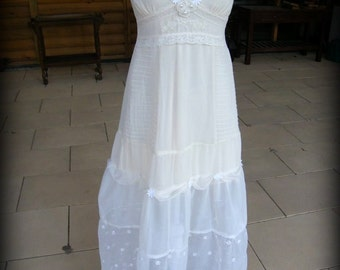 Boho Wedding Dress Maxi Dress Beach Wedding Dress Summer Dress Upcycled Clothing Gift Bohemian Dress Eco Friendly Long Dress for Women