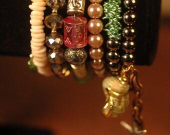 Mermaid Memory Wire Bracelet , Ocean Tide Bracelet , Ocean Memory Wire Bracelet