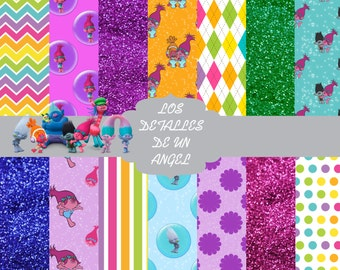 Trolls Digital Paper Kit instantaneous download/download instant trolls Digital Role Kit