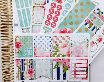 Floral sticker kit to fit Erin Condren, watercolor sticker kit, weekly kit, planner stickers, watercolor stickers, floral stickers