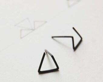 Triangle studs / dainty studs / minimal earrings / post earrings / geometric earrings / silver earrings / triangle earrings / GM006