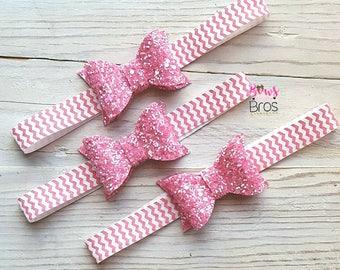 Pink Chevron Sparkle Headband, glitter headband, chevron headband, valentine headband, Pink headband