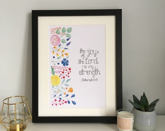 The Joy Of The Lord Is My Strength Print - Nehemiah 8:10 Print - Wall Print - Christian Gift - Christian Print - Christian Wall Art