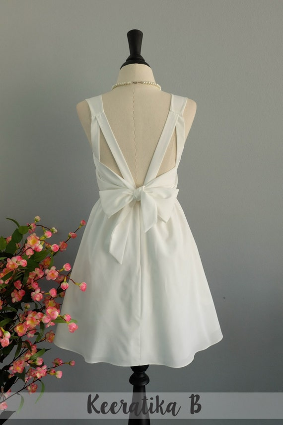 Weiße Kleid Brautjungfer weißen Kleid rückenfrei Party