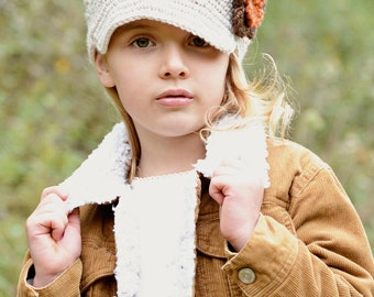 Fall Crocheted Hat, Girls hat, newsgirl with a brim, brimmed hat in Linen with Pumpkin and Espresso  Flower