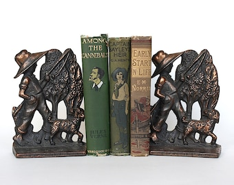Antique Bookends - Fishing Decor - Metal Bookends - Cast Iron Bookends - Boy Fishing Statue - Fishing Gift - Kids Bookends - Fisherman Gift