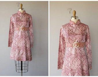 1960s High Neck Mod Dress | 1960s cocktail dress | 60s dress | long sleeved printed dress | 60s party dress | 1960s Dress