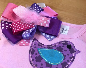 Sweet pink birdie 0-3 month onesie with matching headband bow