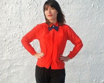 Vintage 1980s Red Secretary Blouse with Blue Collar M/L