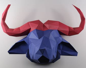 Pre-Cut and Pre-Scoared Paper Water Buffalo Kit - Low Poly Animal