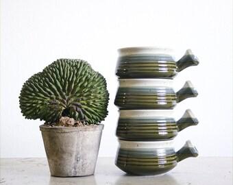 4 Vintage Stoneware Soup Bowls / Boho Kitchen / 1970's Serving Crocks