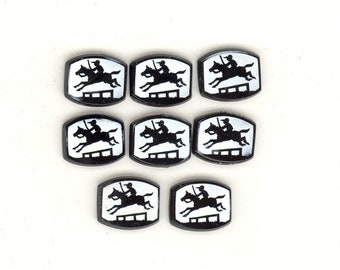 8 Vintage Horse Jumping Glass Cabochons From Czecho Slovakia Antique Czech Glass Flat Back No. 267K