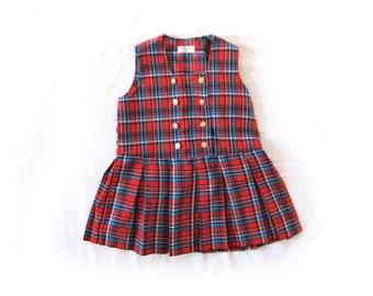 vintage jumper dress childrens girls 80s plaid red toddler preppy clothing 1980s size 4t