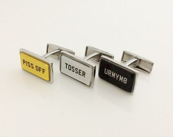 Personalized UK British License Number Plate Cuff Links
