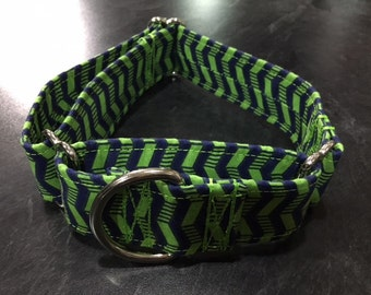 Green/Blue Chevron Fabric Wrapped Martingale