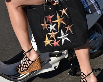 Canvas tote bag with hand painted stars on front!