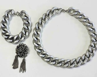 Vintage Chain Necklace Bracelet and Pin Gothic Punk Metal Dangle Drop