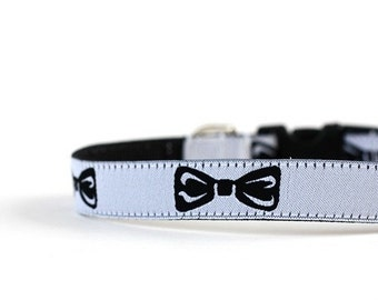 5/8 or 3/4 Inch Wide Dog Collar with Adjustable Buckle or Martingale in Black Tie Affair