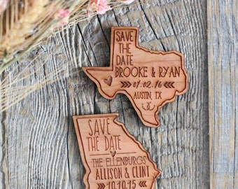 Custom State Engraved Save the Date Wood Magnet Invitation, Wedding Favor - As seen in Inspired Bride Magazine - April 2015