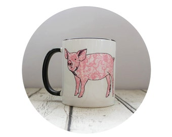 Cute Pink Baby Pig Cup 11 oz Coffee Mug, Sublimated By Hand, Warm Beverage, Tea Mug, Funny, Housewarming Gift, floral lace print