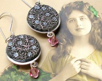 """Antique LACY BUTTON earrings, Victorian vine & flower in black glass on silver. 1.5"""" Present, gift. Button jewllery."""