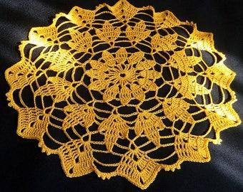 READY TO SHIP New yellow crochet doily-crochet tablecloth